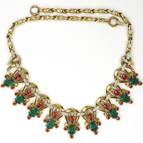 Trifari 'Alfred Philippe' Gold Ruby and Melon Cut Emerald Moghul Linked Horseshoes Choker Necklace