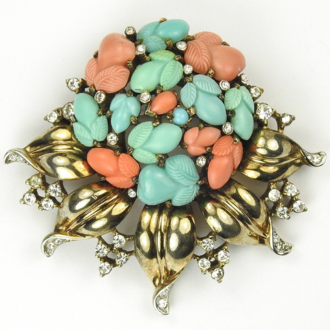 Trifari 'Alfred Philippe' Golden Leaves Garland with Pastel Fruit Salads Pin or Pendant