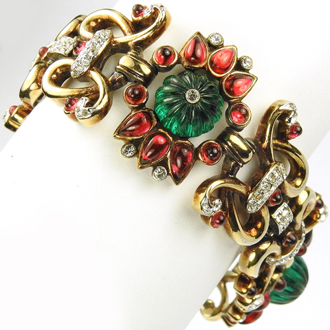 Trifari 'Alfred Philippe' Gold Ruby and Melon Cut Emerald Wide Moghul Link Bracelet