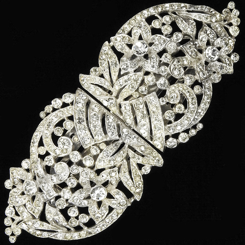 Trifari 'Alfred Philippe' Pave Deco Pave Five Petalled Flowers and Leaves Clipmate Pin or Pair of Dress Clips