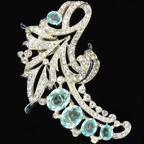 Trifari 'Alfred Philippe' Pave and Aquamarine Floral Swirl Pin Clip