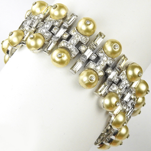 KTF Trifari 'Alfred Philippe' Pave Baguettes and Shoebutton Pearls Deco Articulated Link Bracelet