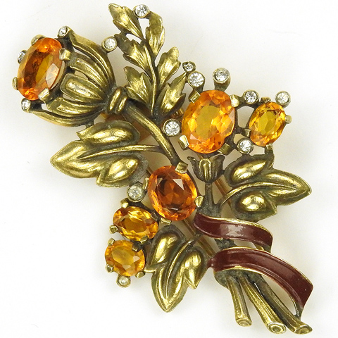 Trifari 'Alfred Philippe' Gold Citrine and Red Enamel Bell Flower Floral Spray Pin Clip