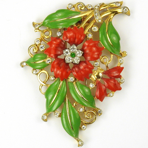 Trifari 'Alfred Philippe' Red Carnation Gold and Enamel Floral Spray Pin Clip