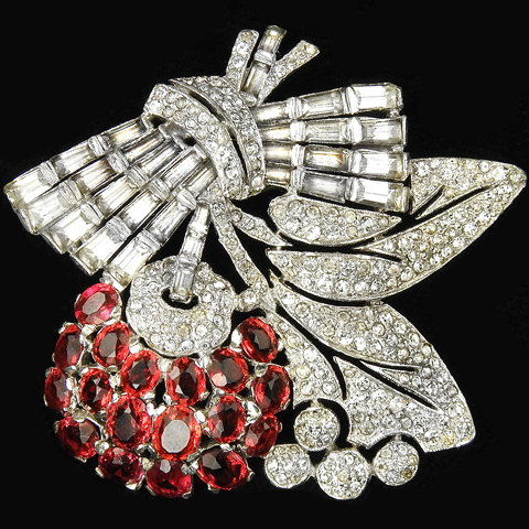 KTF Trifari 'Alfred Philippe' Pave Leaves and Baguette Bow Ruby Apple on Branch Pin