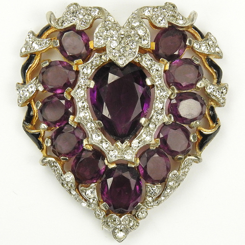 Trifari 'Alfred Philippe' Pave Amethyst and Enamel Heart Pin Clip
