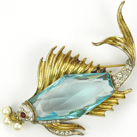 Trifari Sterling 'Alfred Philippe' Aquamarine Faceted Belly Fish with Pearl Bubbles Pin