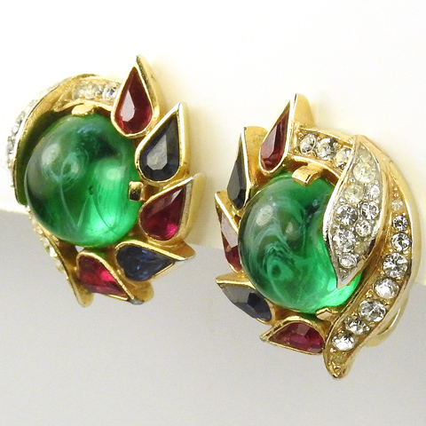 Trifari 'Alfred Philippe' 'Jewels of India' Sapphire Ruby and Emerald Swirl Clip Earrings