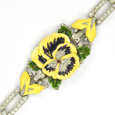 Trifari 'Alfred Philippe' Pave and Yellow and Violet Enamel Pansy Bracelet
