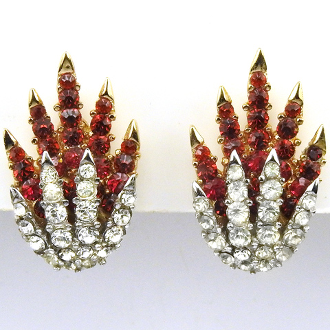 Trifari 'Alfred Philippe' 'Fireworks' Ruby and Diamante 'Starflight' Shooting Star Clip Earrings