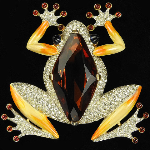 Trifari 'Alfred Philippe' Large Topaz Belly and Enamel Tree Frog Pin Clip