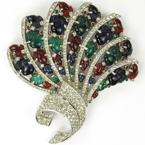 Trifari 'Alfred Philippe' Pave and Tricolour Fruit Salads Fan Swirl Pin Clip