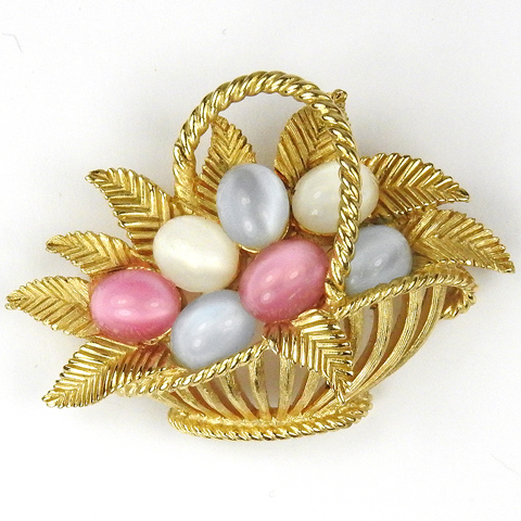 Trifari Pastel Cabochon Eggs in a Golden Basket Pin