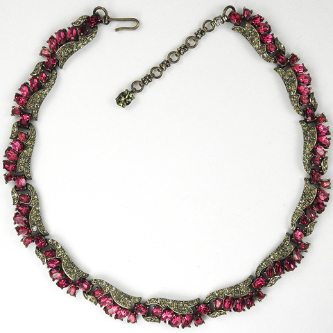 Trifari 'Alfred Philippe' Fuchsia Ruby and Black Diamond Floral Choker Necklace