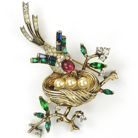Trifari Sterling 'Alfred Philippe' Pave Ruby Emerald and Sapphire Bird on Golden Pearl Nest Pin