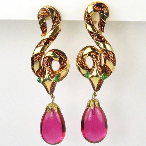 Trifari 'Alfred Philippe' 'Jewels of Fantasy' 'Garden of Eden' Enamel Snake with Ruby Drop Pendant Clip Earrings