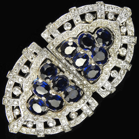 KTF Trifari 'Alfred Philippe' Pave Openwork and Sapphire Triangles Deco Pair of Dress Clips or Clipmate Pin