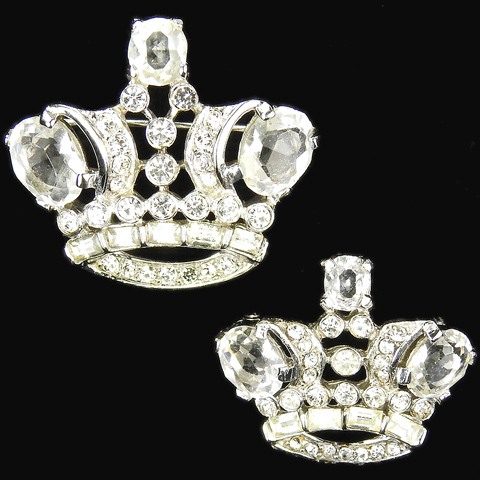 Trifari 'Alfred Philippe' 'Royal Pair' Pave Diamante and Baguettes Royal Crown pair of Scatter Pins