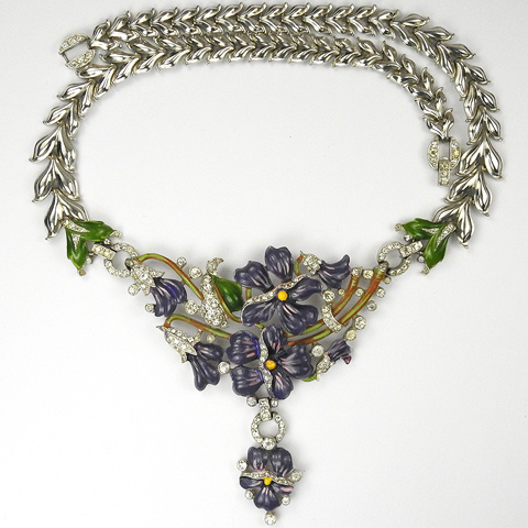 Trifari 'Alfred Philippe' Pave and Enamel Purple Pansy Floral Spray Pendant Necklace