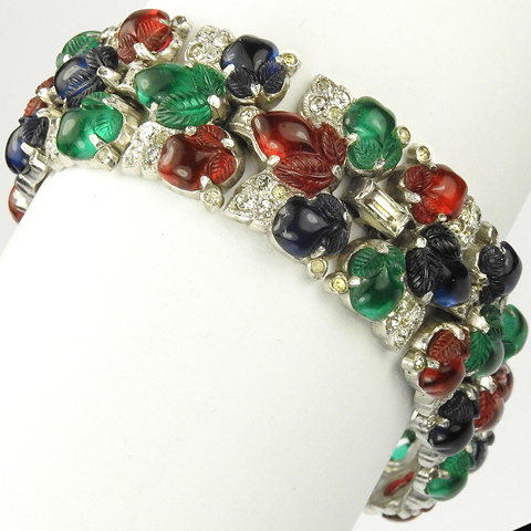 KTF Trifari 'Alfred Philippe' Pave and Tricolour Fruit Salads Link Bracelet