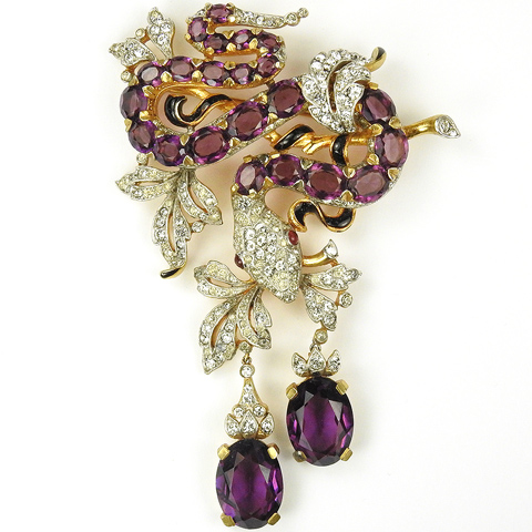 Trifari 'Alfred Philippe' 'Jewels of Fantasy' Pave Enamel and Amethysts Snake in a Vine with Pendants Grapes Pin