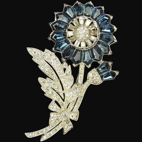 Trifari 'Alfred Philippe' Invisibly Set Kite Shaped Sapphires Flower and Bud Pin Clip
