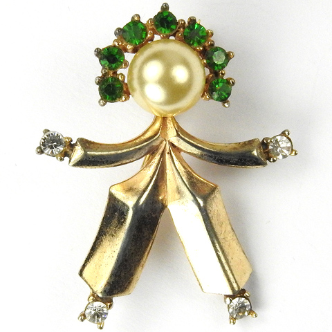 Trifari Sterling and Emeralds 'Alfred Philippe' 'Jon' Boy Figural Pin