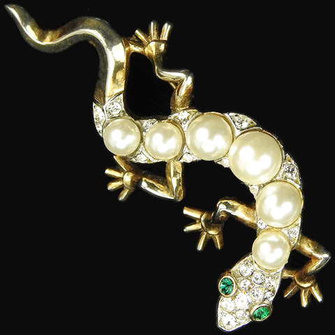 Trifari 'Alfred Philippe' Pearl Backed Lizard Pin