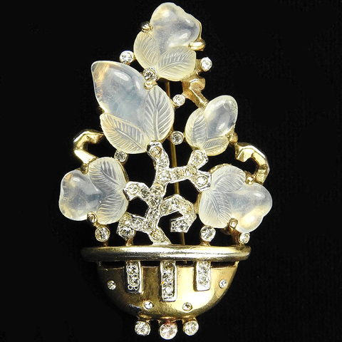 Trifari 'Alfred Philippe' Gold and Moonstone Fruit Salad Flower Basket Pin