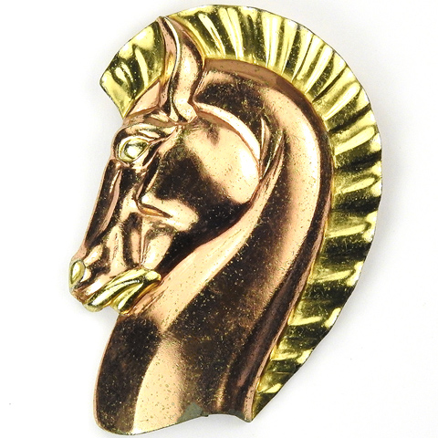Trifari 'Alfred Philippe' Yellow and Rose Gold Horse Head Pin Clip