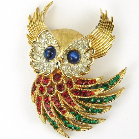 Trifari 'Alfred Philippe' (for Ciro) Invisibly Set Ruby and Emerald 'Firebirds' Owl Pin
