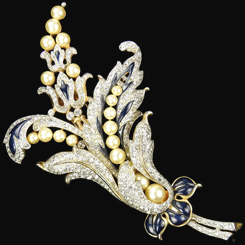Trifari 'Alfred Philippe' Empress Eugenie Pave Enamel and Pearls Lily Swirl Pin Clip
