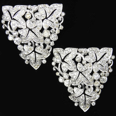 KTF Trifari 'Alfred Philippe' Pave Openwork Ivy Leaves Pierced Earrings