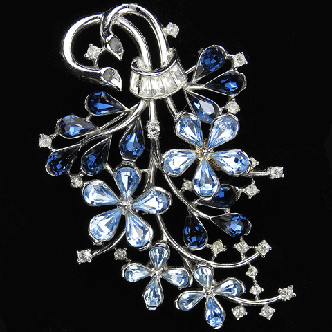 Trifari 'Alfred Philippe' Silver Sapphire Blue Topaz and Diamante Baguettes Floral Spray Pin