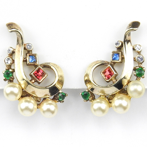 Trifari Sterling 'Alfred Philippe' Gold Ruby Sapphire Emerald and Pearls Swirl Clip Earrings