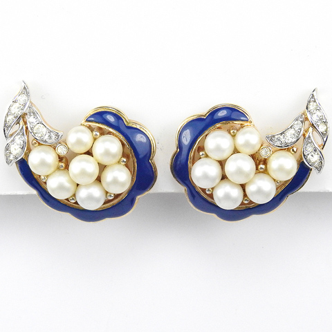 Trifari 'Alfred Philippe' 'Romantique' Empress Eugenie Style Pave Blue Enamel and Pearls Swirl Clip Earrings