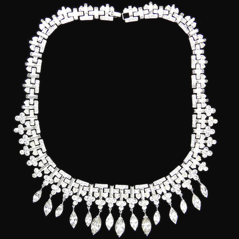 Trifari 'Alfred Philippe' Pave Baguettes and Navettes Multiple Pendants Diamante Collar Necklace