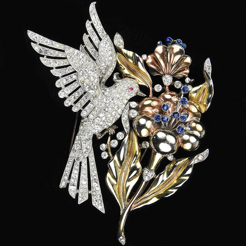 Trifari 'Alfred Philippe' Pave Hovering Bird and Two Colour Gold Flower with Sapphire Stamens Pair of Pin Clips or Clipmate Pin
