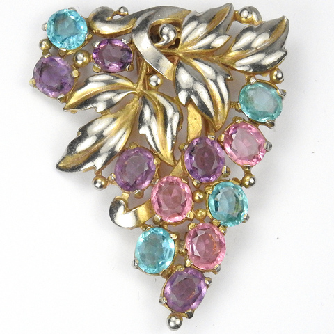 Trifari 'Alfred Philippe' Gold Leaves Amethyst Pink and Blue Topaz Floral Spray Pin Clip