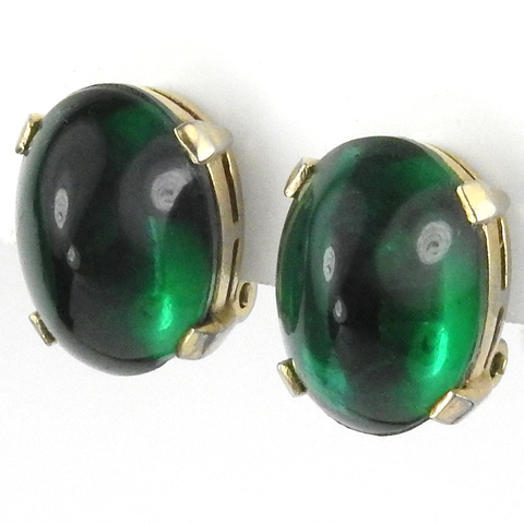 Trifari 'Alfred Philippe' Gold and Emerald Cabochons Button Clip Earrings