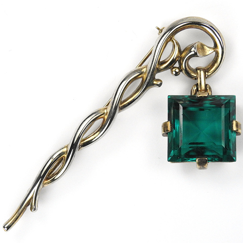 Trifari 'Alfred Philippe' Square Cut Emerald Pendant from Branch or Staff Pin