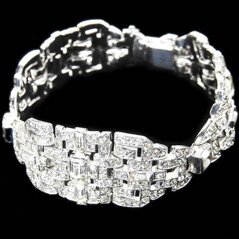 KTF Trifari 'Alfred Philippe' Deco Three Element Pave and Baguettes Link Bracelet