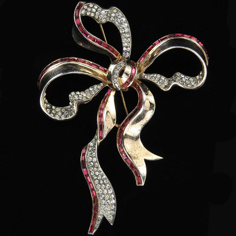 Trifari Sterling 'Alfred Philippe' Gold Pave and Invisibly Set Ruby Baguette Deco Bow Knot Pin