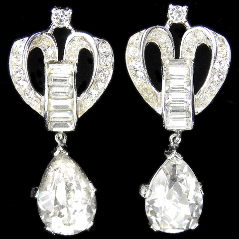 Trifari 'Alfred Philippe' Pave and Baguette Scrolls Royal Crown Pendant Clip Earrings
