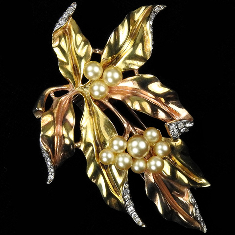 Trifari Sterling 'Alfred Philippe' Pave and Two Colour Gold Pearl Berries and Leaves Pin Clip