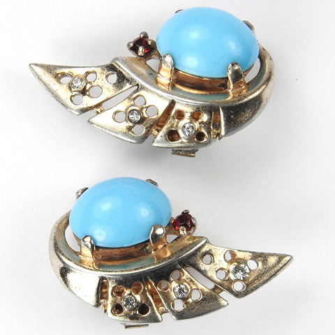 Trifari Sterling 'Alfred Philippe' Gold and Turquoise Cabochon Swirl Clip Earrings