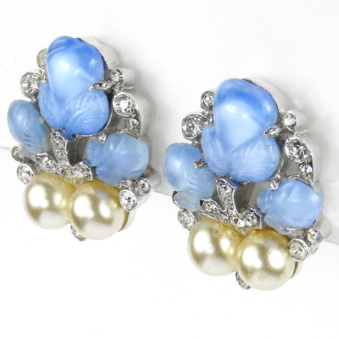 Trifari 'Alfred Philippe' 'Fragonard' Sapphire Fruit Salad and Pearls Clip Earrings