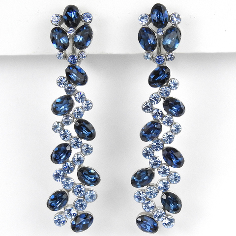 Trifari Pave and Sapphire Zig-Zag Pattern Pendant Clip Earrings
