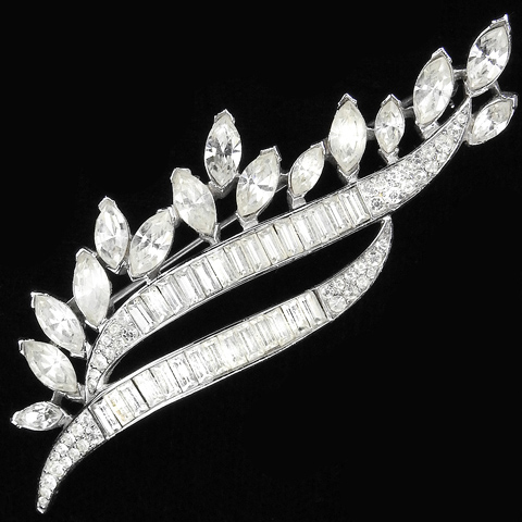 Trifari 'Alfred Philippe' Diamante Navettes and Baguettes Stylized Ear of Wheat Pin