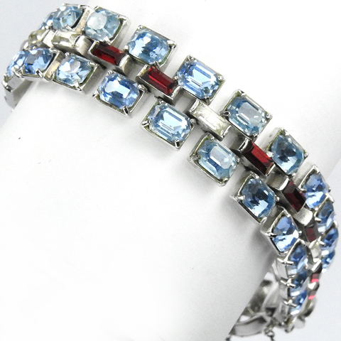 Trifari 'Alfred Philippe' WW2 US Patriotic Blue Topaz Ruby and Diamante Red White and Blue Baguettes Bracelet